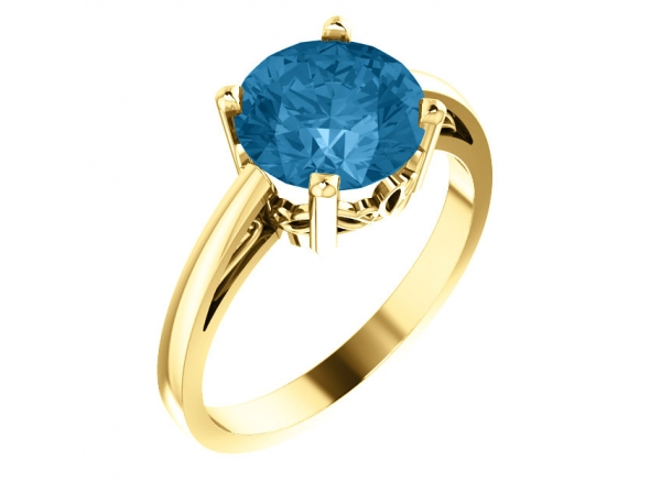 Scroll Setting® Ring - 14K Yellow Swiss Blue Topaz Ring