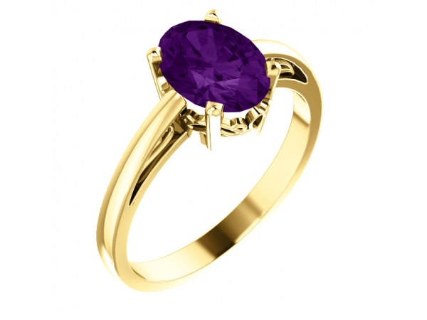 Solitaire Scroll Setting® Ring - 14K Yellow Amethyst Ring