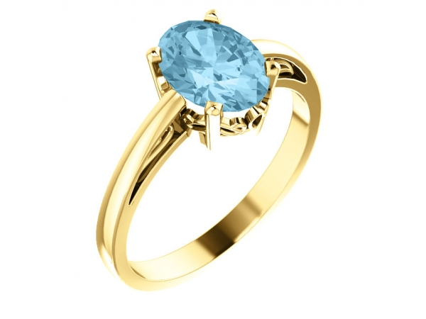Solitaire Scroll Setting® Ring - 14K Yellow Aquamarine Ring