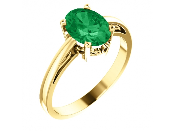 Solitaire Scroll Setting® Ring - 14K Yellow Chatham® Created Emerald Ring