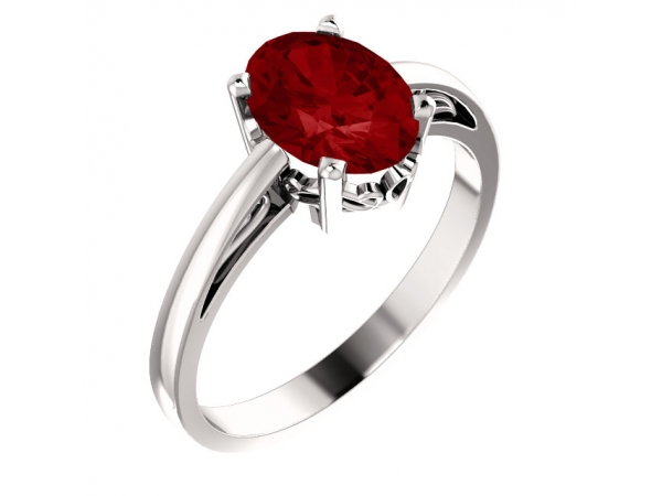 Solitaire Scroll Setting® Ring - 14K White Chatham® Created Ruby Ring