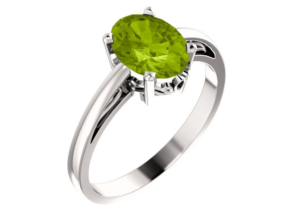 Solitaire Scroll Setting® Ring - 14K White Peridot Ring