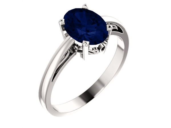 Solitaire Scroll Setting® Ring - 14K White Chatham® Created Blue Sapphire Ring