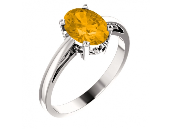 Solitaire Scroll Setting® Ring - 14K White Citrine Ring
