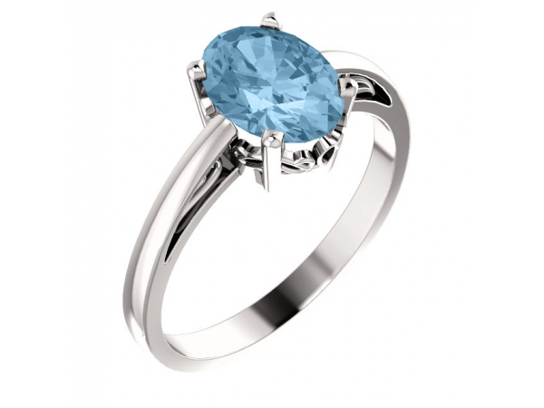 Solitaire Scroll Setting® Ring - 14K White Sky Blue Topaz Ring