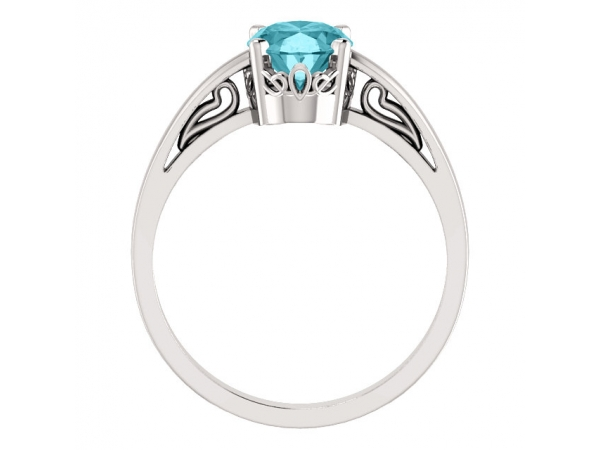 Gemstone Rings - Blue Zircon Ring - image #2