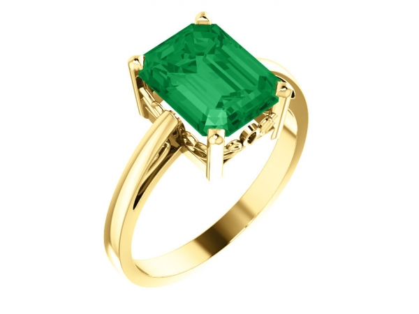 Created Emerald Ring - Polished 14K Yellow Gold Emerald Cut Created Emerald Ring