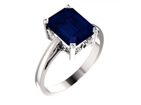 Chatham Created Blue Sapphire Ring - Polished 14K White Gold Emerald Cut Chatham Created Blue Sapphire Ring