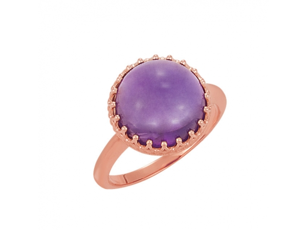Round Crown Ring - 14K Rose Amethyst Crown Design Cabochon Ring