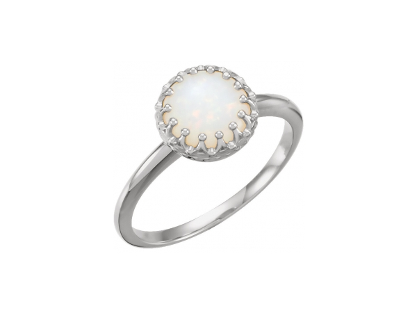 Crown Ring - 14K White 8 mm Round Opal Ring