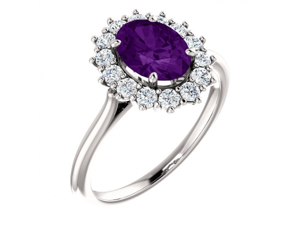 Halo-Style Ring  - 14K White Amethyst & 3/8 CTW Diamond Ring