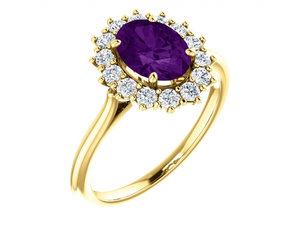 Genuine Amethyst Ring - Polished 14K Yellow Gold Oval Cut Genuine Amethyst Ring