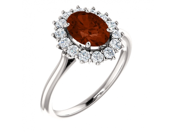 Halo-Style Ring  - 14K White Mozambique Garnet & 3/8 CTW Diamond Ring