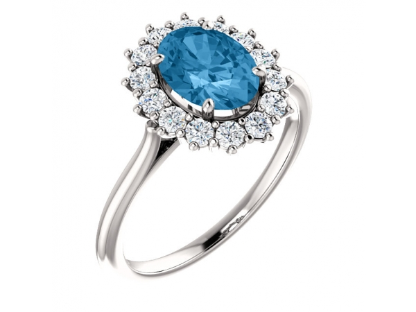 Halo-Style Ring  - 14K White Swiss Blue Topaz & 3/8 CTW Diamond Ring