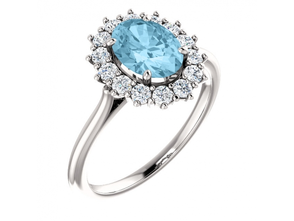 Halo-Style Ring  - 14K White Aquamarine & 3/8 CTW Diamond Ring