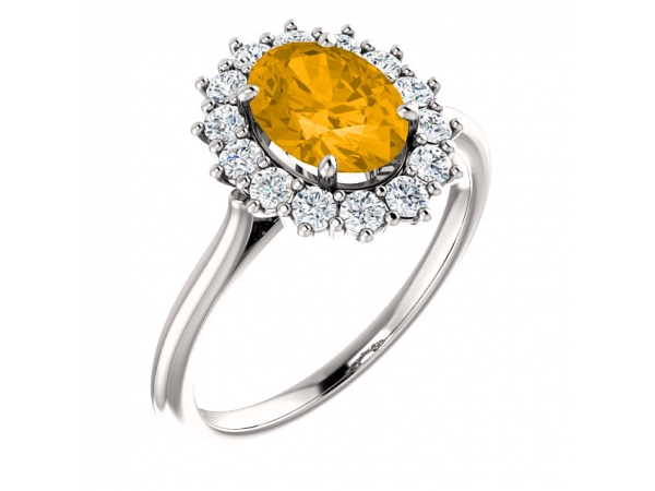 Halo-Style Ring  - 14K White Citrine & 3/8 CTW Diamond Ring
