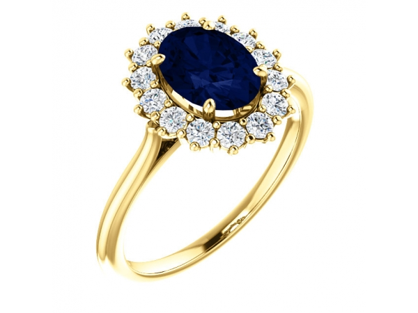 Halo-Style Ring  - 14K Yellow Chatham® Created Blue Sapphire & 3/8 CTW Diamond Ring