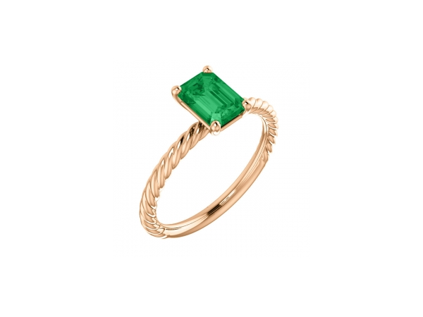 Chatham Created Emerald Ring - 14K Rose Gold Emerald Cut Chatham Created Emerald Ring