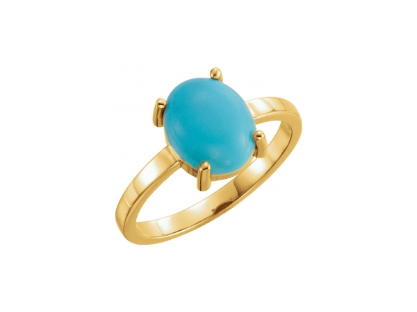 Turquoise Ring - 14K Yellow Gold Oval Cut Turquoise Ring