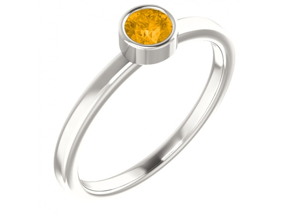Imitation Yellow Citrine Ring - Polished Sterling Silver Imitation Yellow Citrine Ring