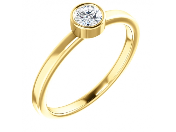 Diamond Fashion Rings - Bezel-Set Solitaire Ring