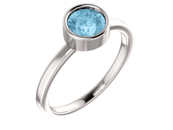 Bezel Set Solitaire Ring - 14K White Aquamarine Ring