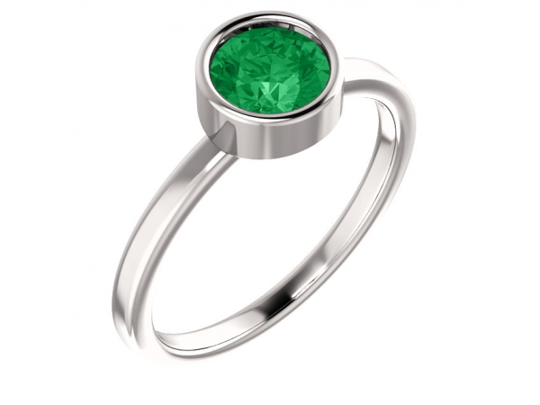 Bezel Set Solitaire Ring - 14K White Emerald Ring