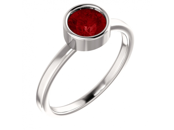 Bezel Set Solitaire Ring - 14K White Chatham® Created Ruby Ring