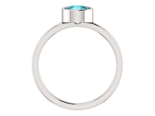 Gemstone Rings - Genuine Blue Zircon Ring - image #2