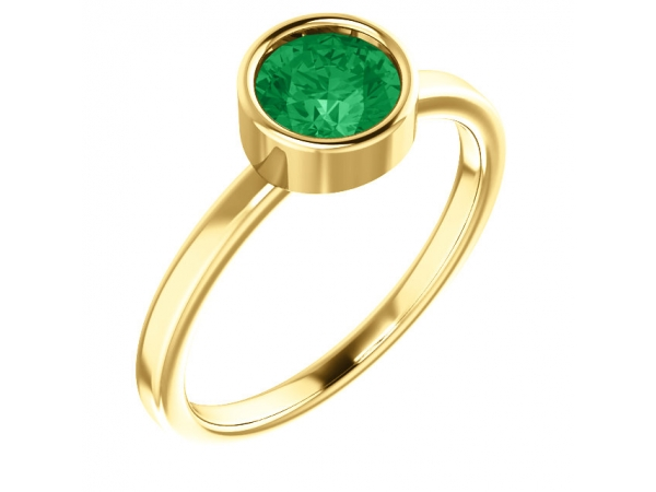 Gemstone Rings - Lab-Created Emerald Ring