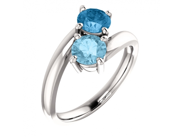 Two-Stone Ring - 14K White Aquamarine & Swiss Blue Topaz Ring