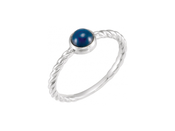Sapphire Ring - Polished Sterling Silver Sapphire Ring