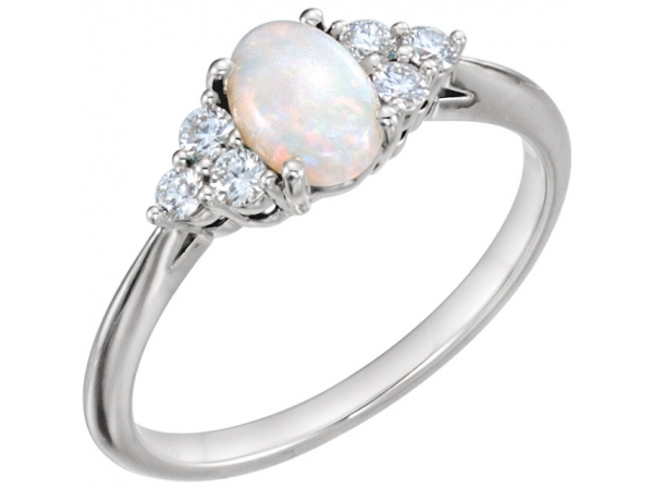Accented Ring - 14K White Opal & 1/5 CTW Diamond Ring