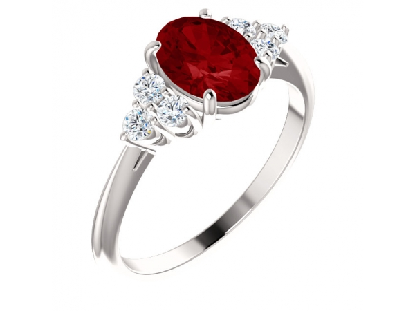 Accented Ring - 14K White Chatham® Created Ruby & 1/6 CTW Diamond Ring