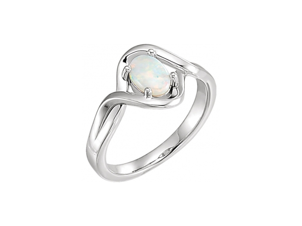 Opal Ring - Polished Sterling Silver Opal Ring