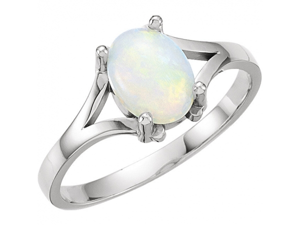 Solitaire Ring - 14K White Opal Ring