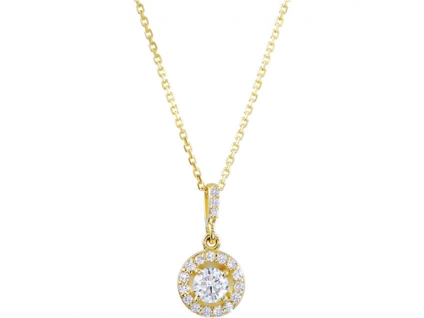 Diamond Necklace - Polished 14K Yellow Gold Diamond Necklace