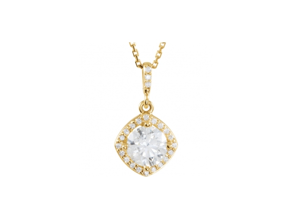 Diamond Pendant - Polished 14K Yellow Gold Diamond Pendant