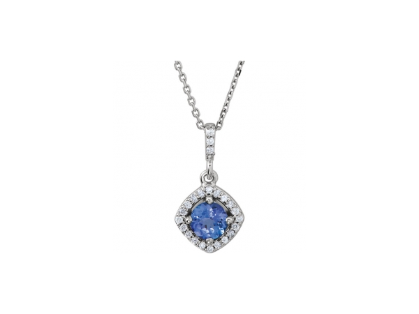 Tanzanite Necklace - Polished 14K White Gold Tanzanite Necklace