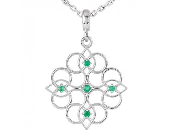 Polished Sterling Silver Round Cut Emerald Necklace