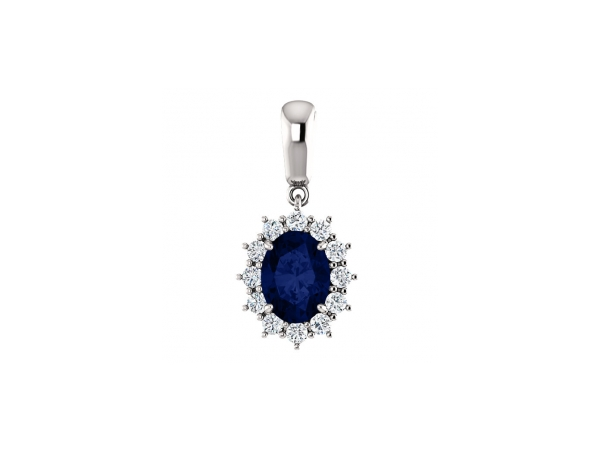 Blue Sapphire Necklace - Polished 14K White Gold Oval Cut Blue Sapphire Necklace
