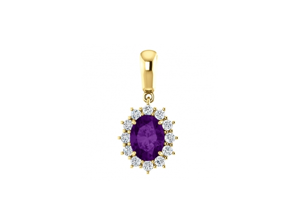Amethyst Pendant - Polished 14K Yellow Gold Oval Cut Amethyst Pendant