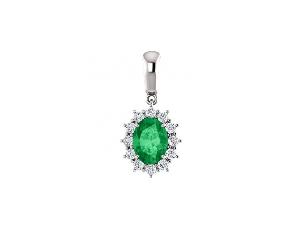 Emerald Pendant - Polished 14K White Gold Oval Cut Emerald Pendant