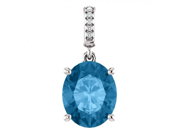 Accented Pendant - 14K White 11x9mm Swiss Blue Topaz & Diamond Necklace