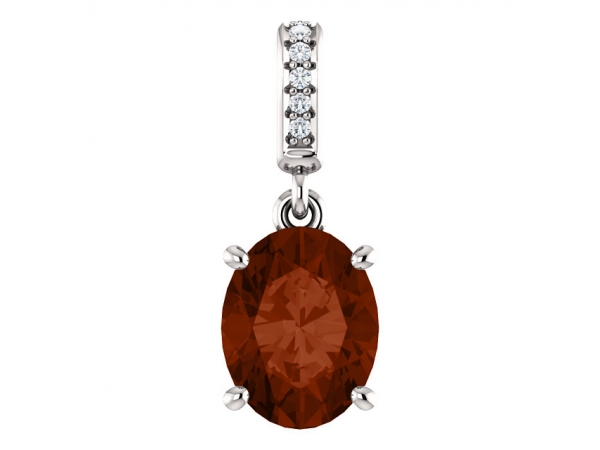 Accented Pendant - 14K White 9x7mm Mozambique Garnet & .03 CTW Diamond Pendant