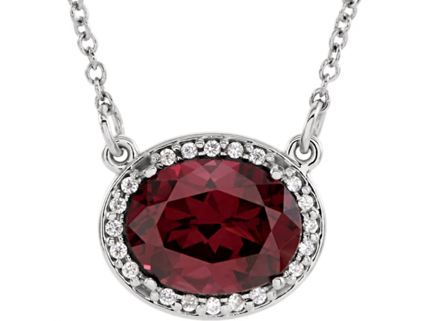 Halo-Style Necklace - 14K White Rhodolite Garnet & .05 CTW Diamond 16.5