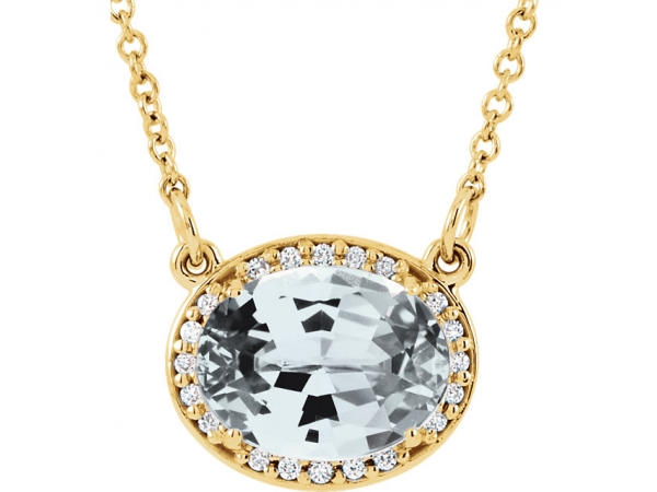 Halo-Style Necklace - 14K Yellow Topaz & .05 CTW Diamond 16.5