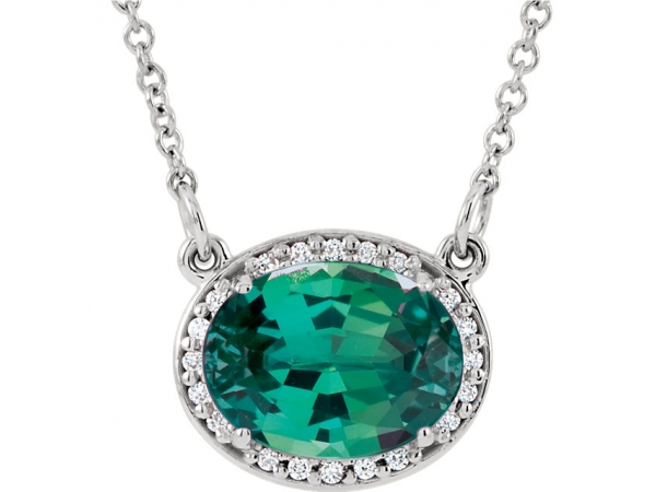 Halo-Style Necklace - 14K White Chatham® Created Emerald & .05 CTW Diamond 16.5