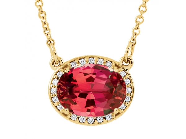 Halo-Style Necklace - 14K Yellow Chatham® Created Ruby & .05 CTW Diamond 16.5