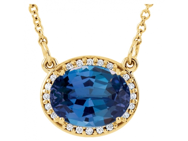 Halo-Style Necklace - 14K Yellow Chatham® Created Blue Sapphire & .05 CTW Diamond 16.5